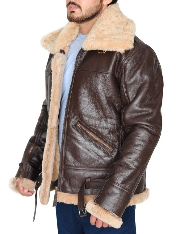Brown Shearling Bomber Leather Jacket,