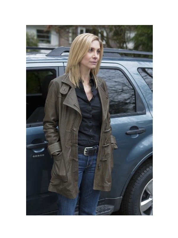 TV Series V Erica Evans Elizabeth Mitchell Leather Coat
