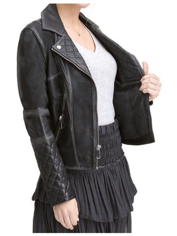 Lexi Black Quilted Asymmetrical Leather Jacket