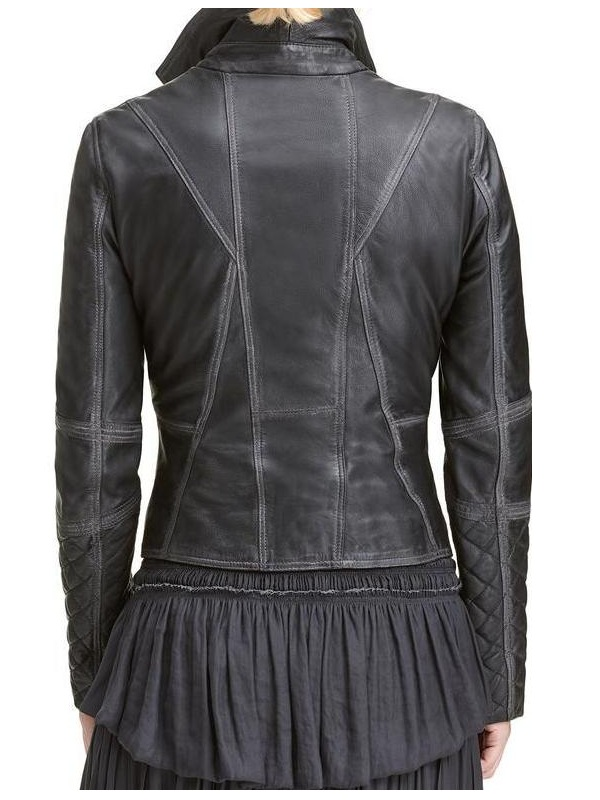 Lexi Black Quilted Asymmetrical Ladies Jacket