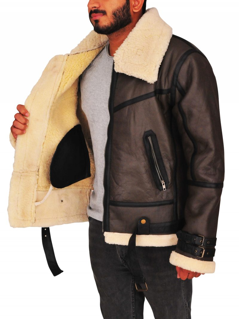 Men Bomber Flying Shearling Jacket