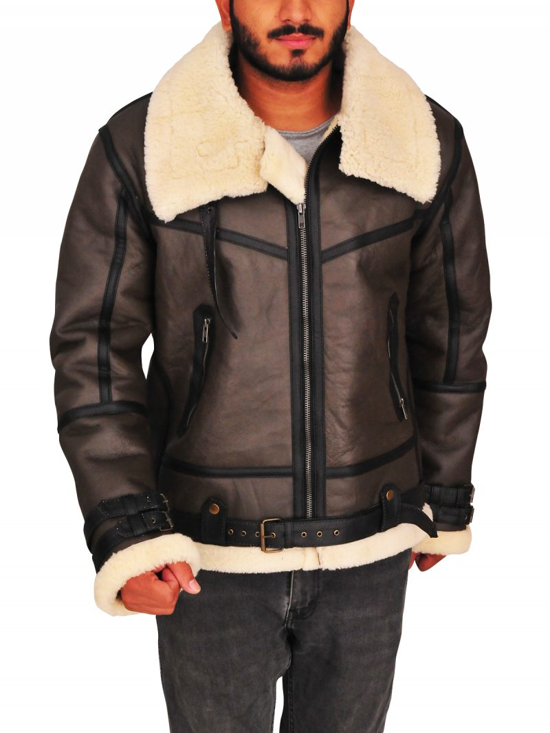 Men's Aviator Bomber Flying Shearling B3 Leather Jacket