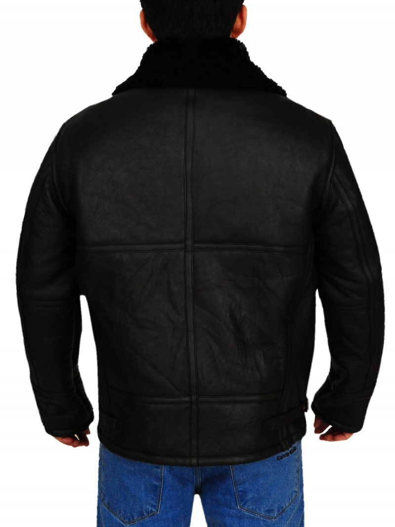 Sheepskin Shearling Black Jacket, B3 Jacket,