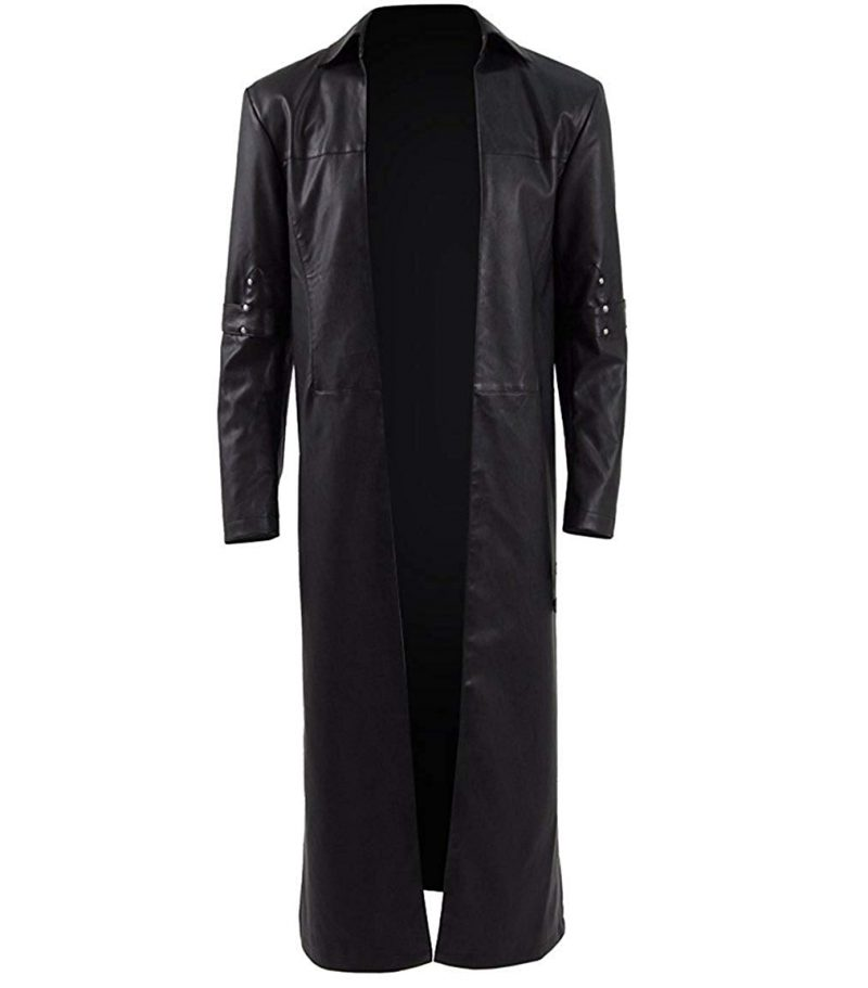 Men Classic Long Trench Leather Coat