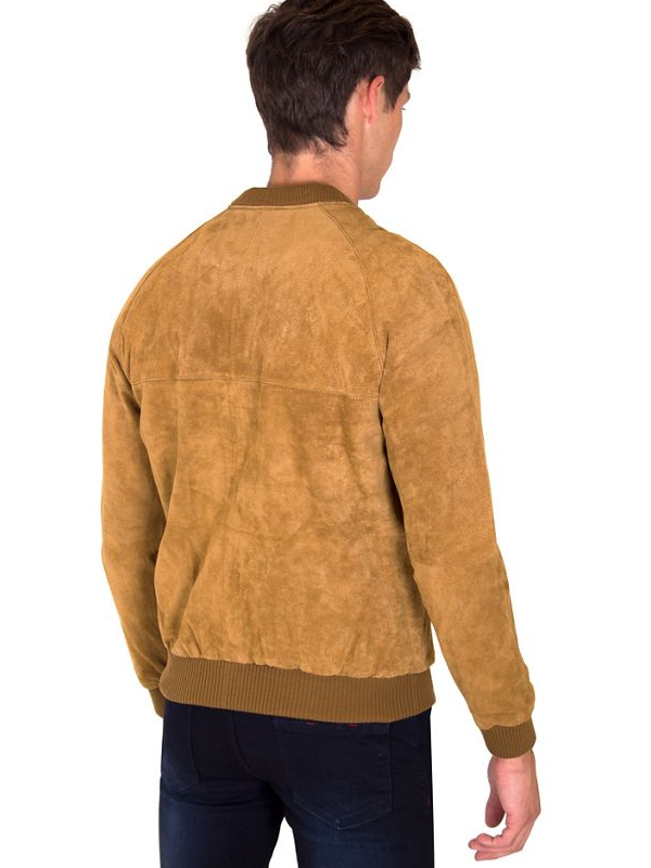 Men's Classic Varsity style Suede leather Jacket