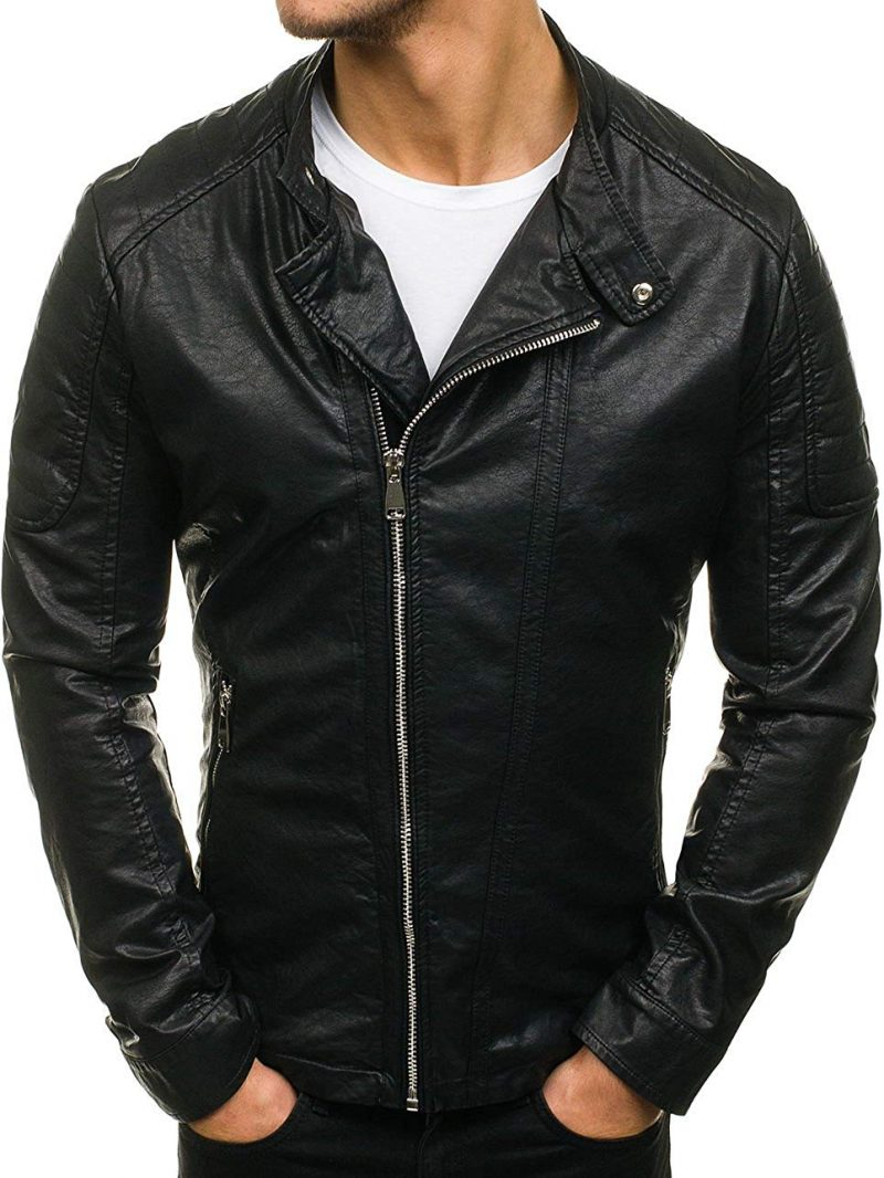 Men Slim fit Casual Leather Jacket
