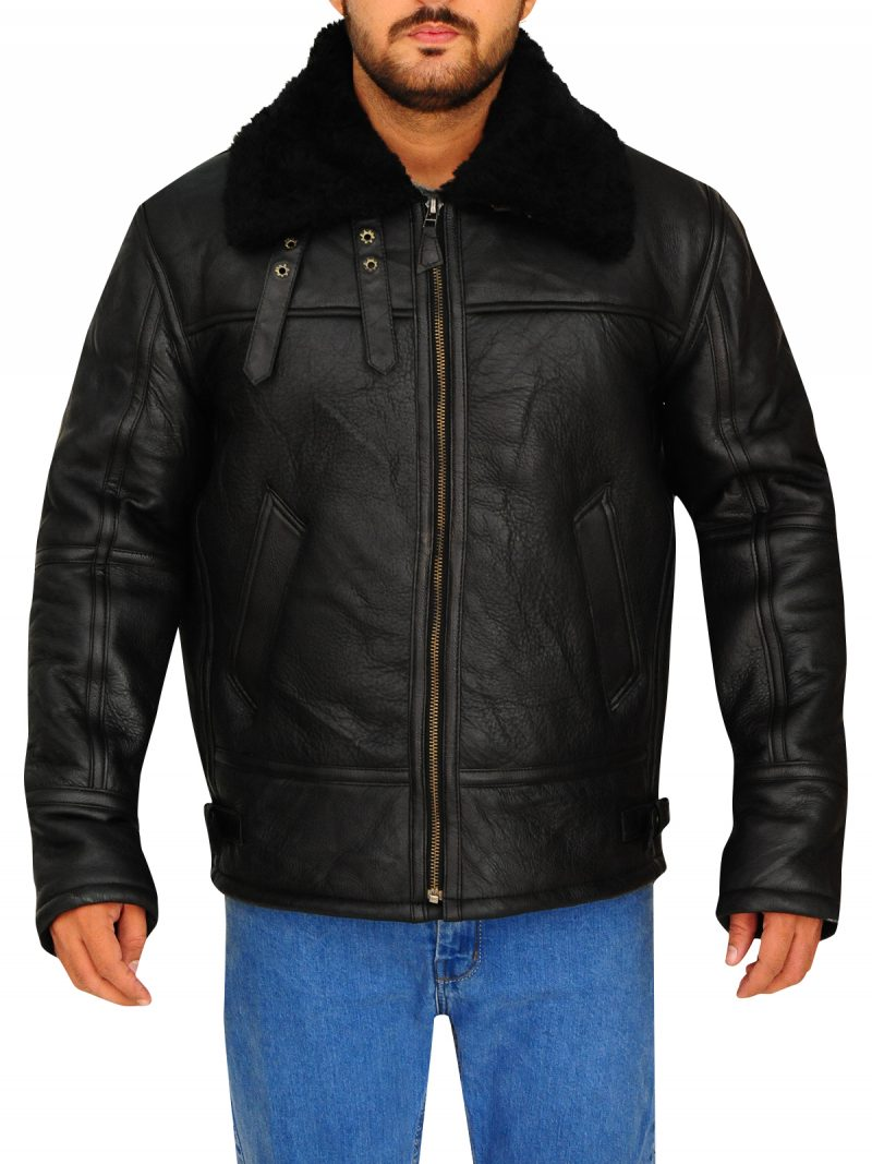 B3 Bomber Jacket, Shearling Black Leather Jacket,