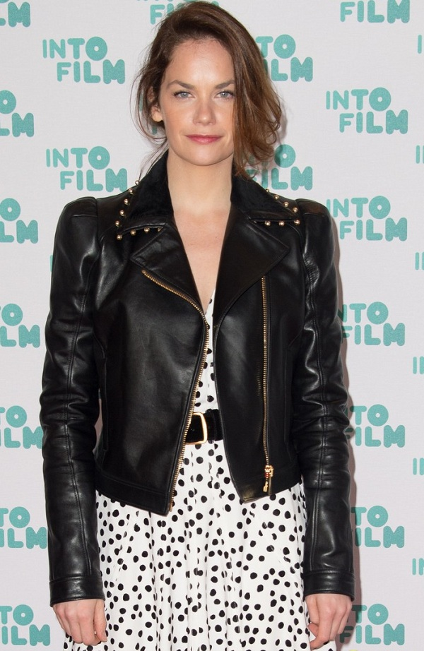 Actress Laura Haddock Leather Jacket