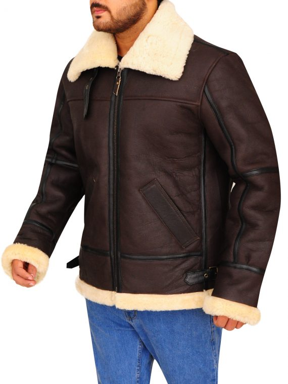 B3 Bomber Aviator Shearling Brown Leather Jacket,