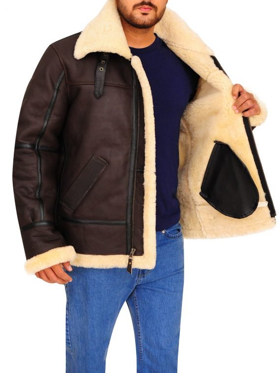 B3 Bomber Aviator Shearling Leather Jacket,