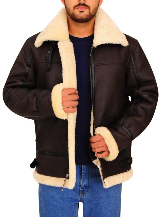 B3 Bomber Aviator Sheepskin Leather Jacket,