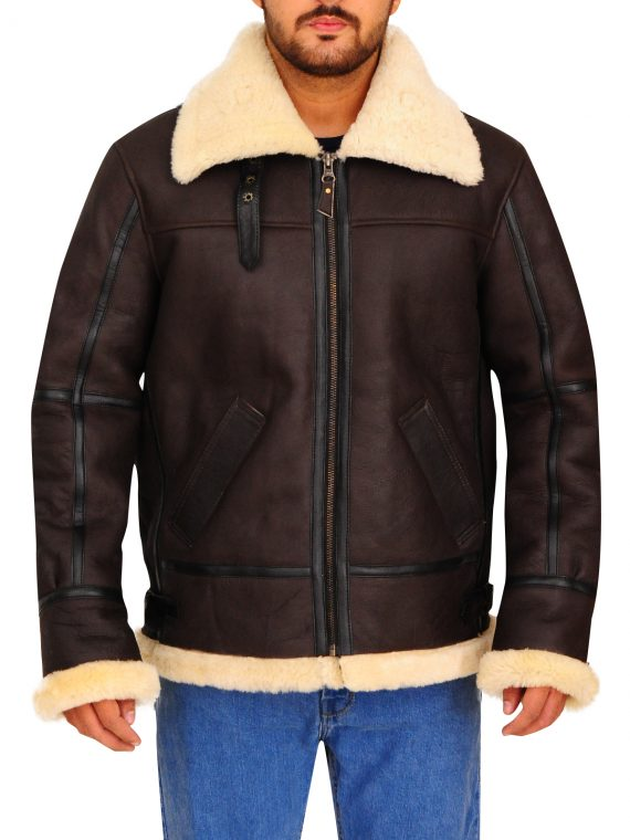 Bomber Aviator Shearling Leather Jacket,