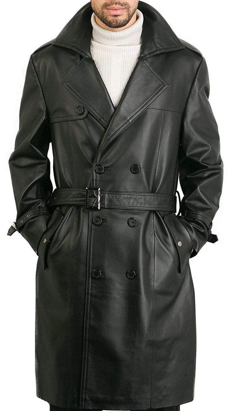 Exclusive Skyfall Silva Trench Leather Black Coat