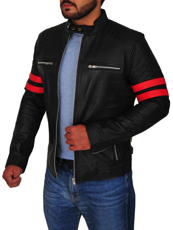 Mens Cafe Racer Motorcycle Leather Jacket,