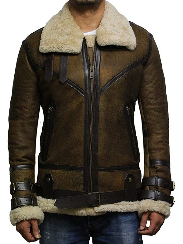 WWII B3 Sheepskin Leather Bomber Flying Jacket