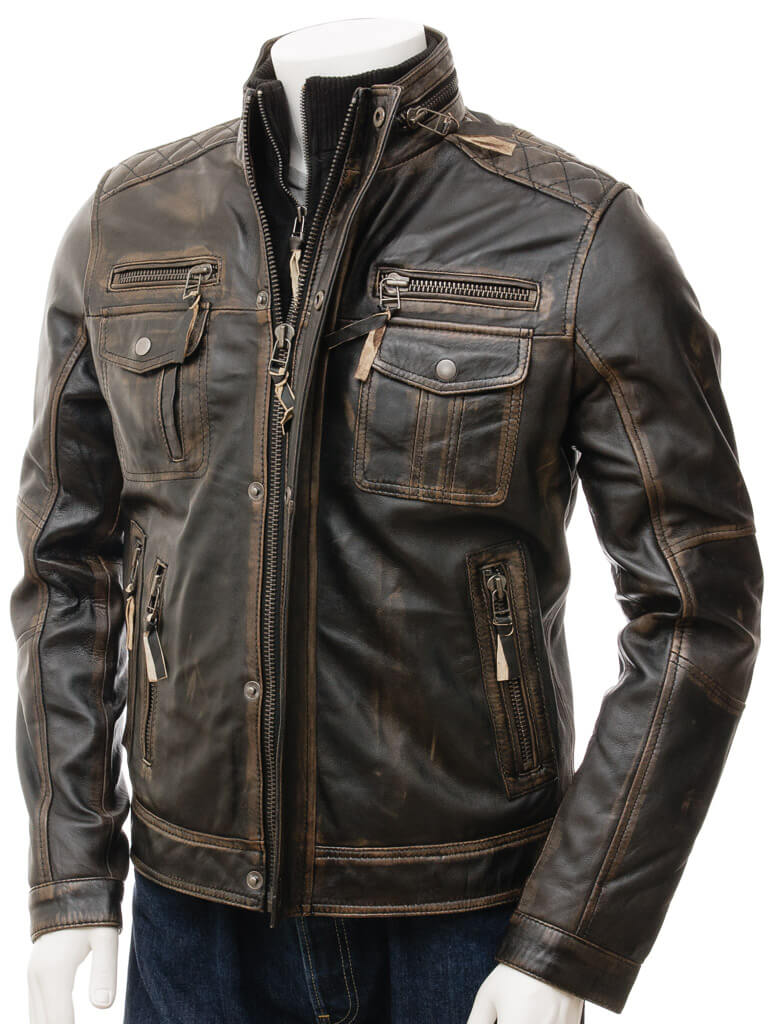 Moffit Brown Distressed Leather Motorcycle Jacket