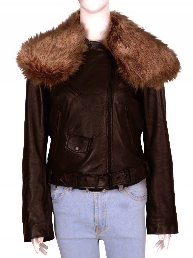 Rihanna Faux Fur Brown Leather Jacket,
