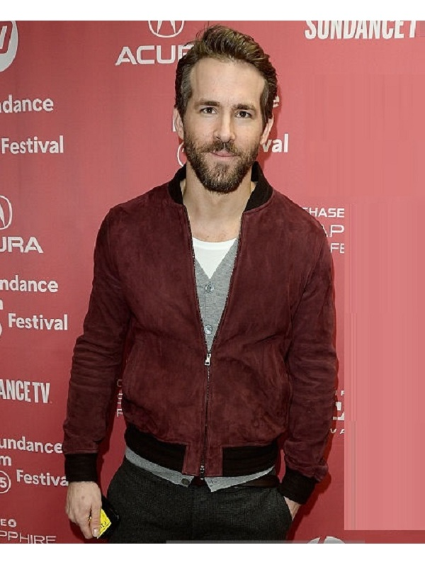 Ryan Reynolds Maroon Suede Leather Jacket