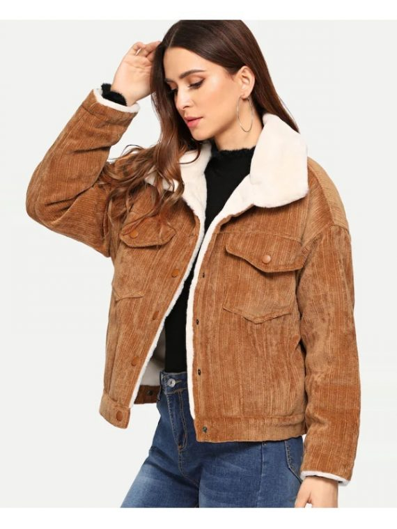 Women Faux Fur Lined Corduroy Jacket