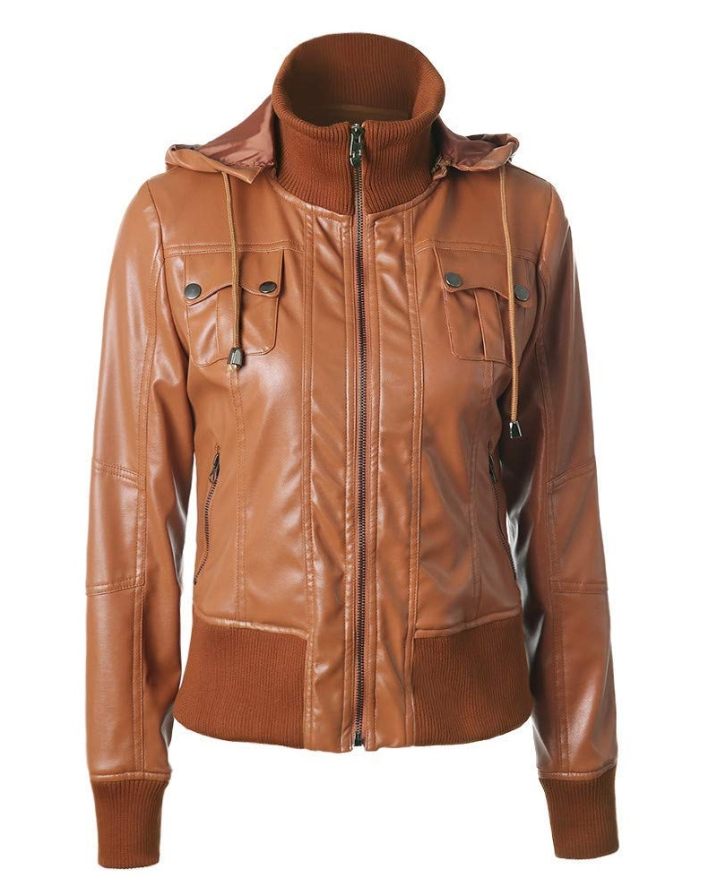 Women Removable Hooded Classic Brown Color Leather Jacket