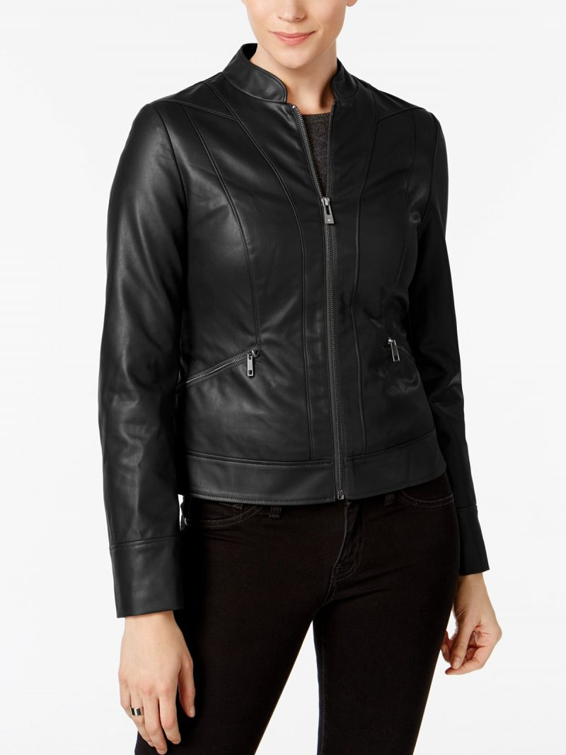 Women Slim Fit Moto Black Jacket,
