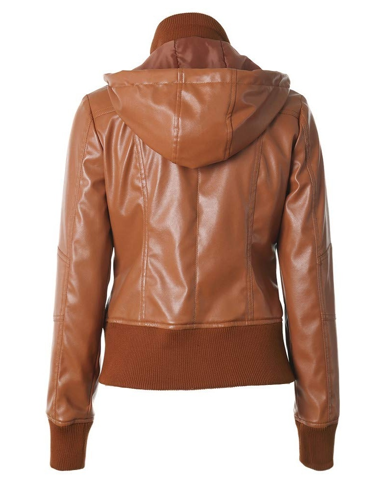 Women Removable Hooded Classic Brown Color Jacket