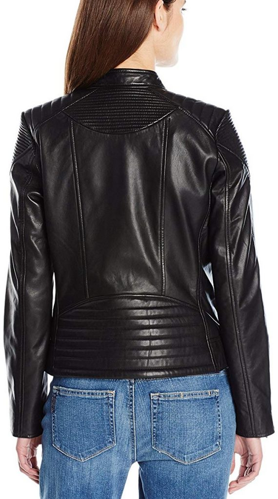 Womens Moto Biker Leather Scuba Jacket