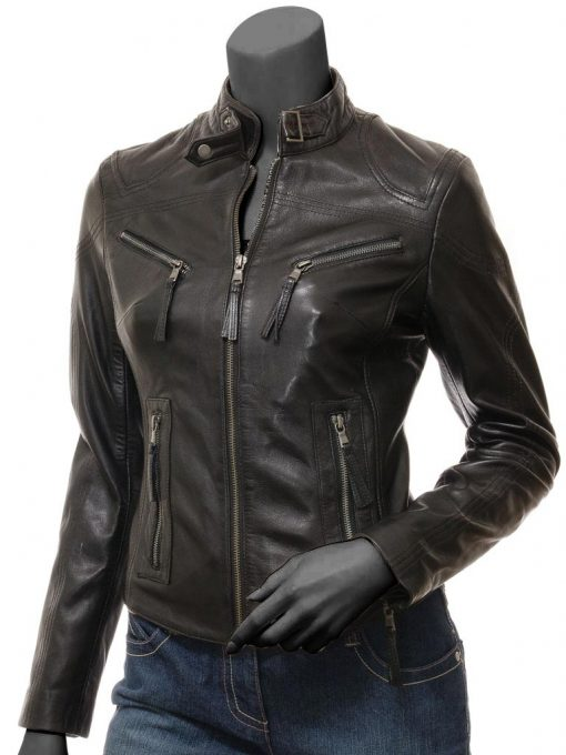Alicia Women's Black Leather Jacket