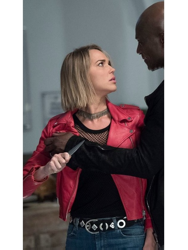 Arielle Kebbel Midnight Texas Olivia Charity Red Leather Jacket