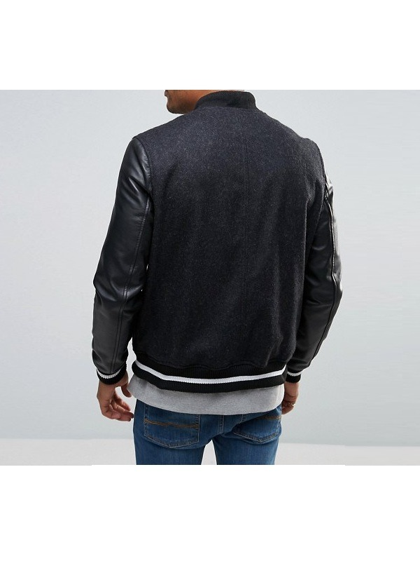 Designer Men Varsity Wool Leather Sleeves Jacket