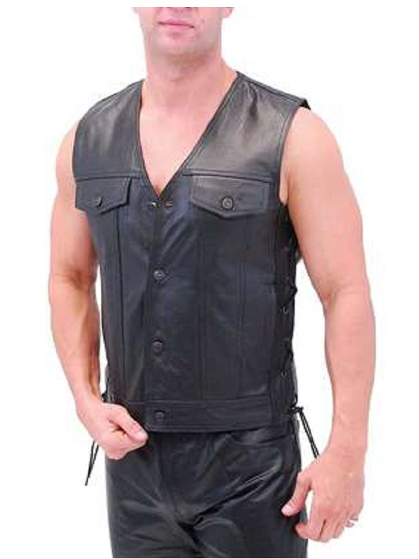Holster Pockets Black Leather Vest