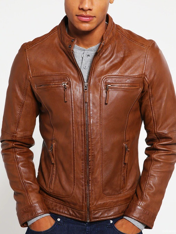 Oakwood Men's Style Slim-fit Brown Leather Jacket