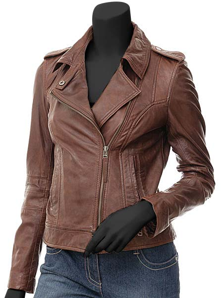 Women Peggy Asymmetrical Biker Leather Jacket