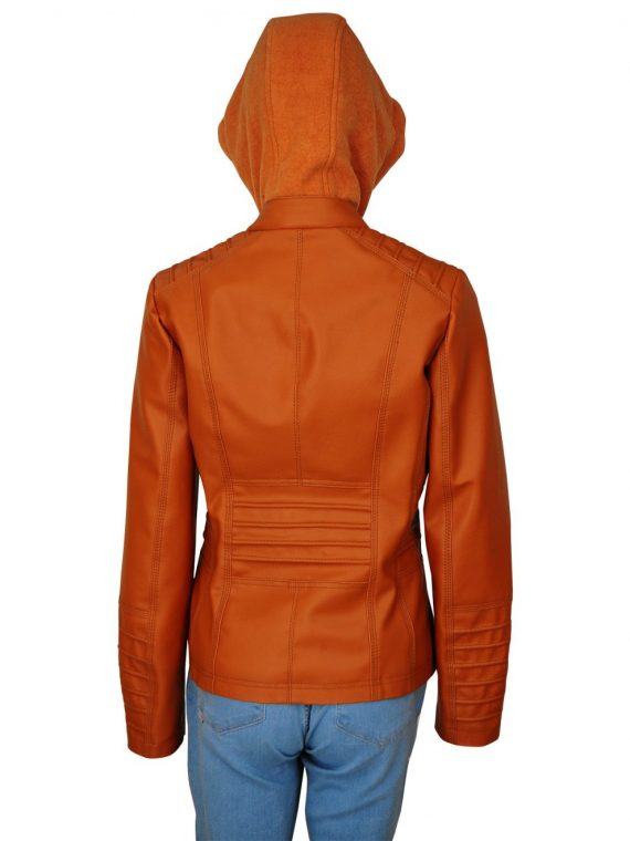 Removable Hooded Style Womens Leather Jacket,