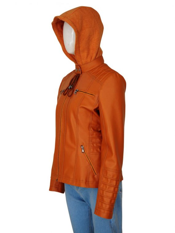 Removable Hooded Womens Brown Leather Jacket,