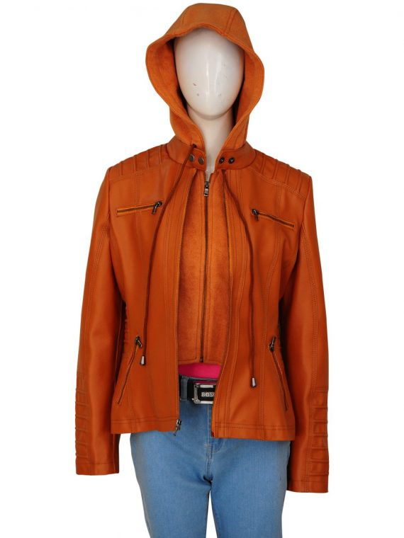 Removable Hooded Womens Leather Jacket,