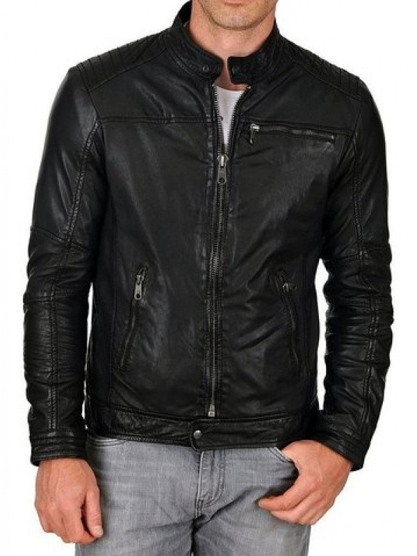 Men Slim Fit Classic Biker Leather Jacket