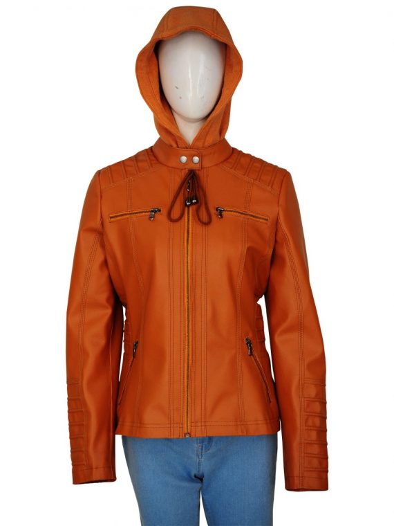 Women's Removable Hooded Brown Leather Jacket,