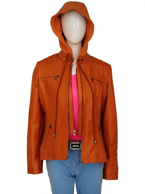 Womens Removable Hooded Brown Leather Jacket,