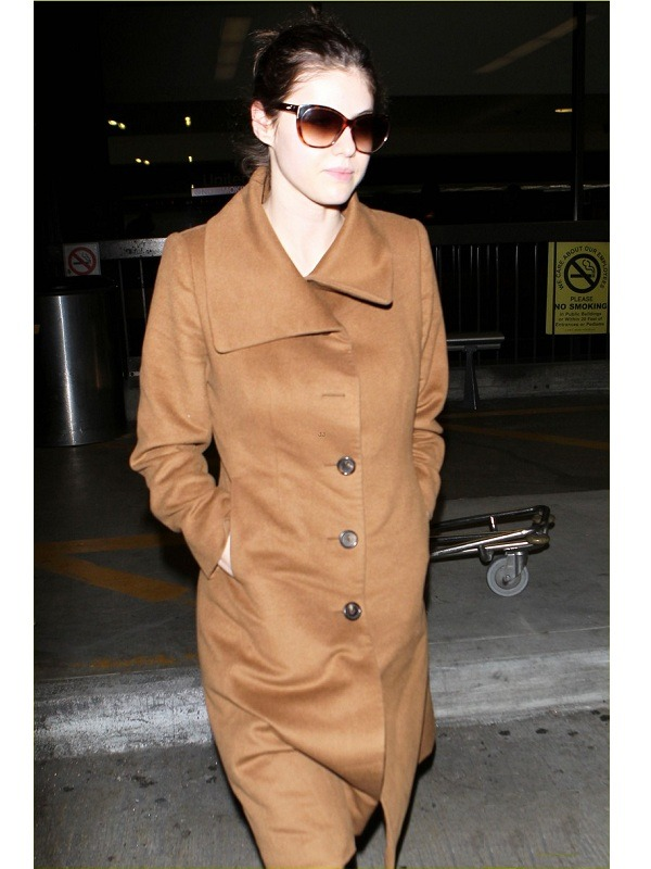 Alexandra Daddario LAX Airport Brown Coat