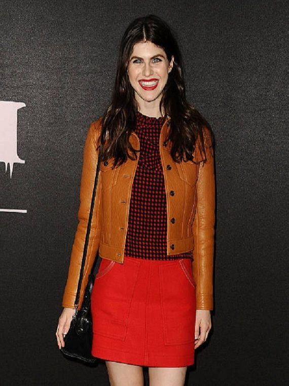 Alexandra Daddario Tan Brown Faux Fur Collar Leather Jacket