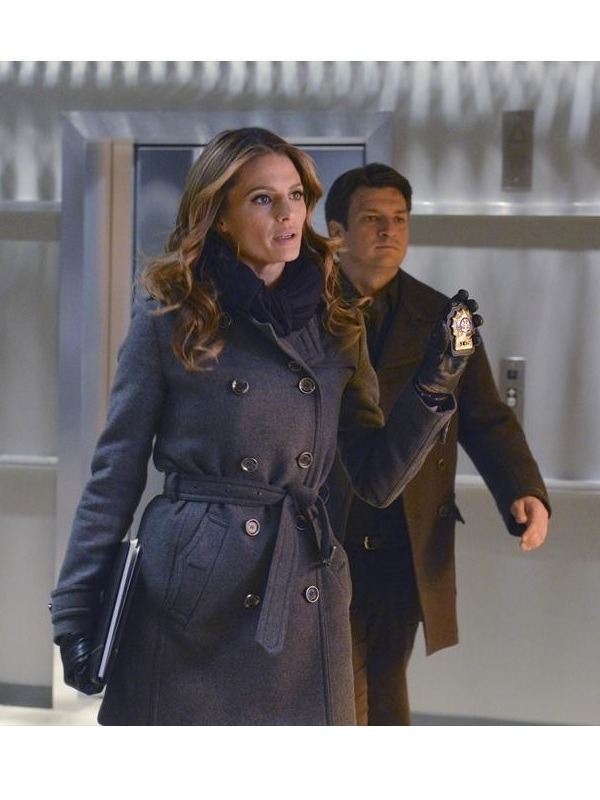 Castle Kate Beckett Stana Katic Trench Woo lCoat