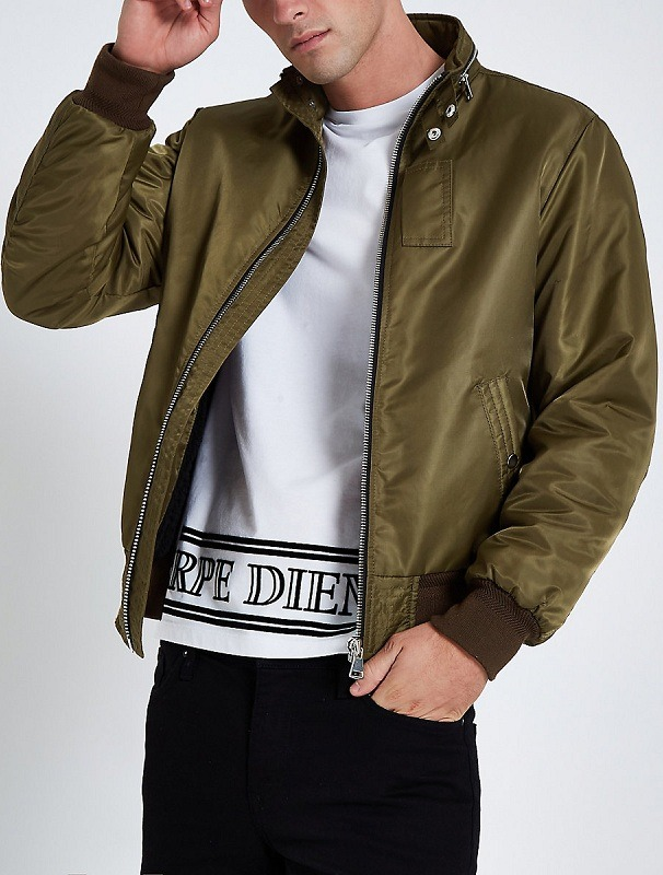 Dark Oval Green Varsity Satin Jacket