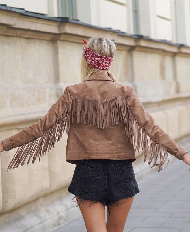 Women's Fringed Brown Suede leather Jacket