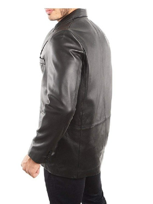 Men's Classic Blazer Black Leather Coat