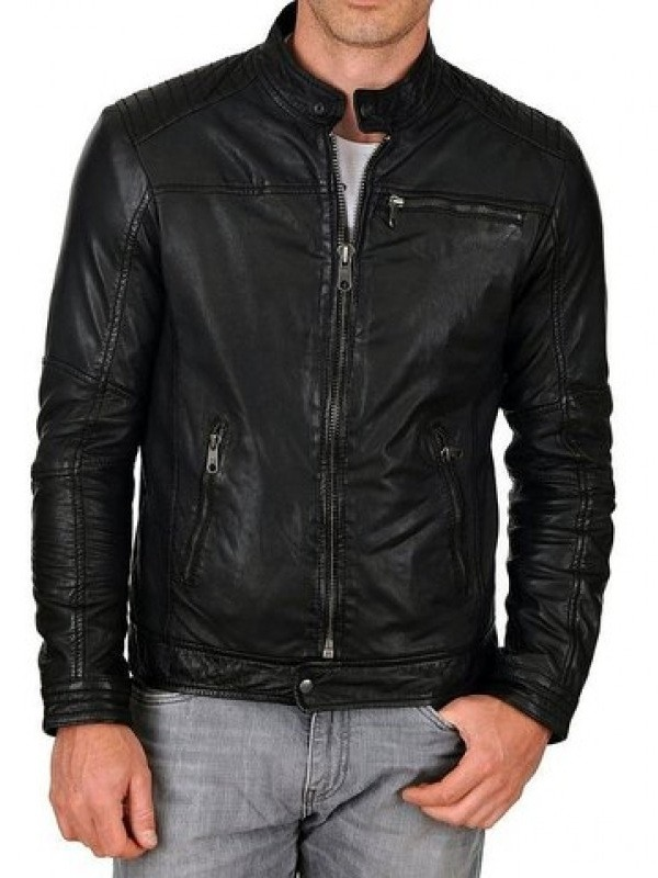 Mens Stylish Pockets Softskin Leather Biker Jacket