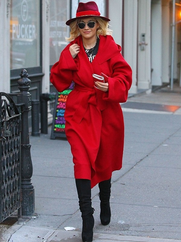 Singer Rita Ora Classic Red Wool Coat
