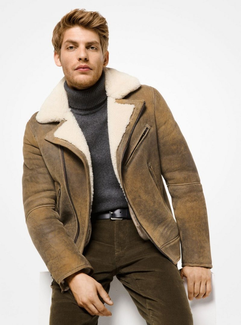 Men's Vintage Charming Shearling Moto Jacket