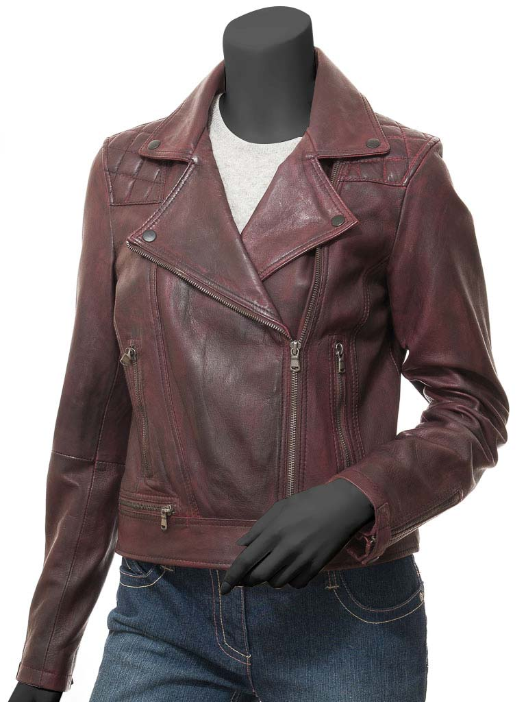 Women Kimberley Quilted Burgundy Moto Jacket