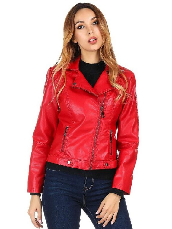 Women's Biker Red Jacket